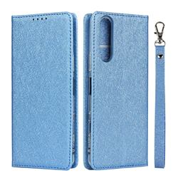Ultra Slim Magnetic Automatic Suction Silk Lanyard Leather Flip Cover for Sony Xperia 5 II - Sky Blue