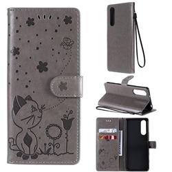 Embossing Bee and Cat Leather Wallet Case for Sony Xperia 5 II - Gray