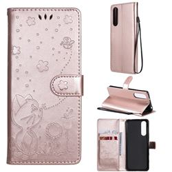 Embossing Bee and Cat Leather Wallet Case for Sony Xperia 5 II - Rose Gold