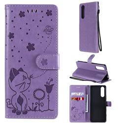 Embossing Bee and Cat Leather Wallet Case for Sony Xperia 5 II - Purple