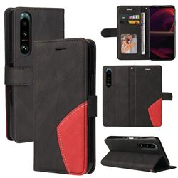 Luxury Two-color Stitching Leather Wallet Case Cover for Sony Xperia 5 III - Black