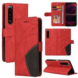 Luxury Two-color Stitching Leather Wallet Case Cover for Sony Xperia 5 III - Red