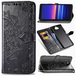 Embossing Imprint Mandala Flower Leather Wallet Case for Sony Xperia 8 - Black