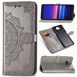 Embossing Imprint Mandala Flower Leather Wallet Case for Sony Xperia 8 - Gray