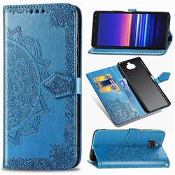 Embossing Imprint Mandala Flower Leather Wallet Case for Sony Xperia 8 - Blue
