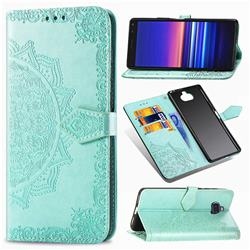 Embossing Imprint Mandala Flower Leather Wallet Case for Sony Xperia 8 - Green
