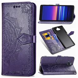 Embossing Imprint Mandala Flower Leather Wallet Case for Sony Xperia 8 - Purple