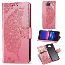 Embossing Mandala Flower Butterfly Leather Wallet Case for Sony Xperia 8 - Pink