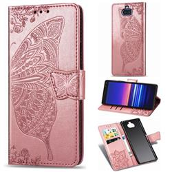 Embossing Mandala Flower Butterfly Leather Wallet Case for Sony Xperia 8 - Rose Gold