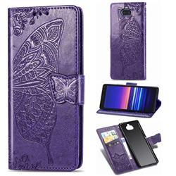 Embossing Mandala Flower Butterfly Leather Wallet Case for Sony Xperia 8 - Dark Purple