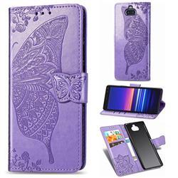 Embossing Mandala Flower Butterfly Leather Wallet Case for Sony Xperia 8 - Light Purple