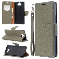 Classic Luxury Litchi Leather Phone Wallet Case for Sony Xperia 8 - Gray