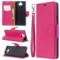Classic Luxury Litchi Leather Phone Wallet Case for Sony Xperia 8 - Rose