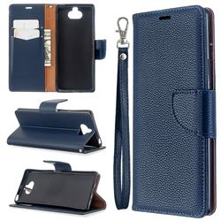 Classic Luxury Litchi Leather Phone Wallet Case for Sony Xperia 8 - Blue