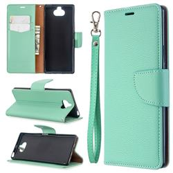 Classic Luxury Litchi Leather Phone Wallet Case for Sony Xperia 8 - Green