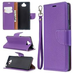 Classic Luxury Litchi Leather Phone Wallet Case for Sony Xperia 8 - Purple