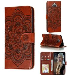 Intricate Embossing Datura Solar Leather Wallet Case for Sony Xperia 8 - Brown