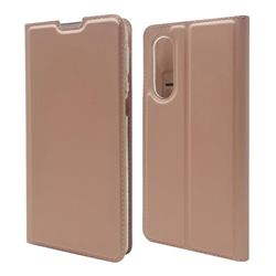 Ultra Slim Card Magnetic Automatic Suction Leather Wallet Case for Sharp Aquos zero5G basic SHG02 - Rose Gold
