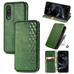 Ultra Slim Fashion Business Card Magnetic Automatic Suction Leather Flip Cover for Sharp Aquos zero5G basic SHG02 - Green