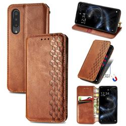 Ultra Slim Fashion Business Card Magnetic Automatic Suction Leather Flip Cover for Sharp Aquos zero5G basic SHG02 - Brown