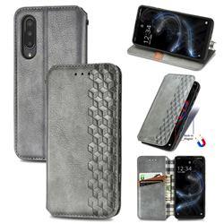 Ultra Slim Fashion Business Card Magnetic Automatic Suction Leather Flip Cover for Sharp Aquos zero5G basic SHG02 - Grey