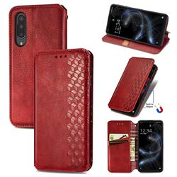 Ultra Slim Fashion Business Card Magnetic Automatic Suction Leather Flip Cover for Sharp Aquos zero5G basic SHG02 - Red