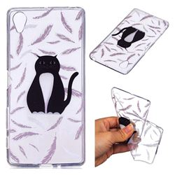 Feather Black Cat Super Clear Soft TPU Back Cover for Sony Xperia X