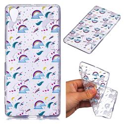 Rainbow Running Unicorn Super Clear Soft TPU Back Cover for Sony Xperia X