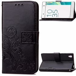 Embossing Imprint Four-Leaf Clover Leather Wallet Case for Sony Xperia X / Sony X Dual - Black