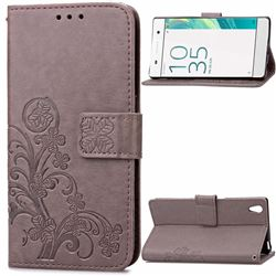 Embossing Imprint Four-Leaf Clover Leather Wallet Case for Sony Xperia X / Sony X Dual - Gray