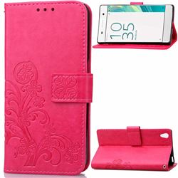 Embossing Imprint Four-Leaf Clover Leather Wallet Case for Sony Xperia X / Sony X Dual - Rose