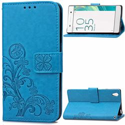 Embossing Imprint Four-Leaf Clover Leather Wallet Case for Sony Xperia X / Sony X Dual - Blue