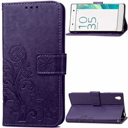 Embossing Imprint Four-Leaf Clover Leather Wallet Case for Sony Xperia X / Sony X Dual - Purple
