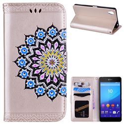 Datura Flowers Flash Powder Leather Wallet Holster Case for Sony Xperia X - Golden
