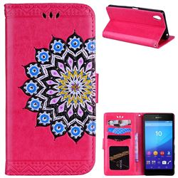 Datura Flowers Flash Powder Leather Wallet Holster Case for Sony Xperia X - Rose