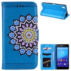 Datura Flowers Flash Powder Leather Wallet Holster Case for Sony Xperia X - Blue
