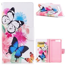 Vivid Flying Butterflies Leather Wallet Case for Sony Xperia X1