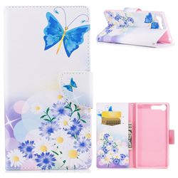 Butterflies Flowers Leather Wallet Case for Sony Xperia X1