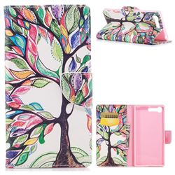 The Tree of Life Leather Wallet Case for Sony Xperia X1