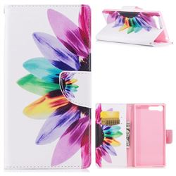 Seven-color Flowers Leather Wallet Case for Sony Xperia X1