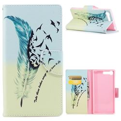 Feather Bird Leather Wallet Case for Sony Xperia X1