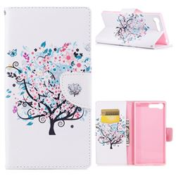 Colorful Tree Leather Wallet Case for Sony Xperia X1