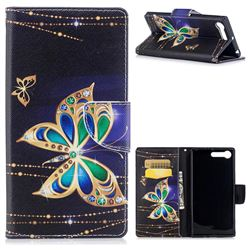 Golden Shining Butterfly Leather Wallet Case for Sony Xperia X1