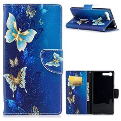 Golden Butterflies Leather Wallet Case for Sony Xperia X1