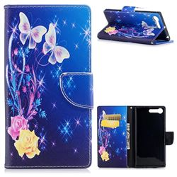 Yellow Flower Butterfly Leather Wallet Case for Sony Xperia X1