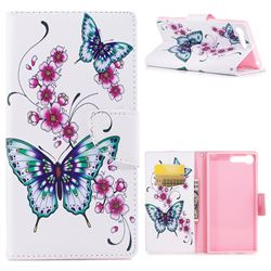 Peach Butterflies Leather Wallet Case for Sony Xperia X1
