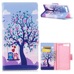 Tree and Owls Leather Wallet Case for Sony Xperia X1