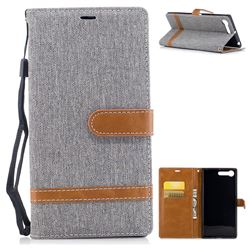 Jeans Cowboy Denim Leather Wallet Case for Sony Xperia X1 - Gray