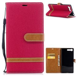 Jeans Cowboy Denim Leather Wallet Case for Sony Xperia X1 - Red