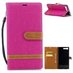 Jeans Cowboy Denim Leather Wallet Case for Sony Xperia X1 - Rose